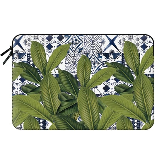 Floral tropical leaves on watercolor moroccan tiles