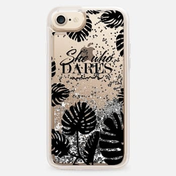 iPhone 7 Case she who dares wins quote black tropical