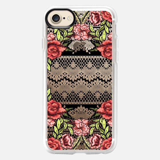 Embroidered flowers on black lace - Classic Grip Case