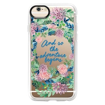Grip iPhone 6 Case - And so the adventure begins- quote watercolor flowers
