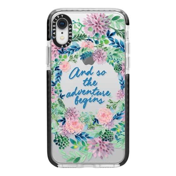 iPhone XR Cases - And so the adventure begins- quote watercolor flowers