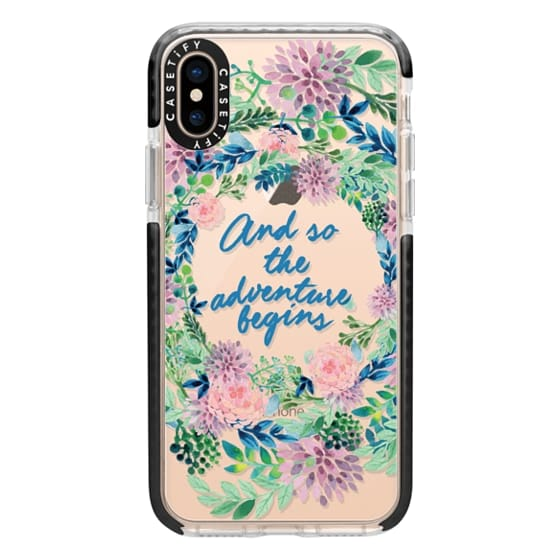 iPhone XS Cases - And so the adventure begins- quote watercolor flowers