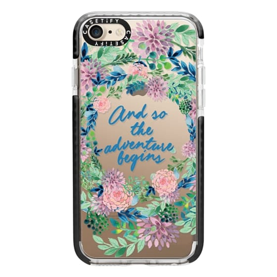 iPhone 7 Cases - And so the adventure begins- quote watercolor flowers