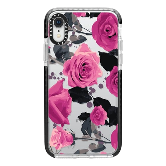 iPhone XR Cases - Roses and paint splatter pinks