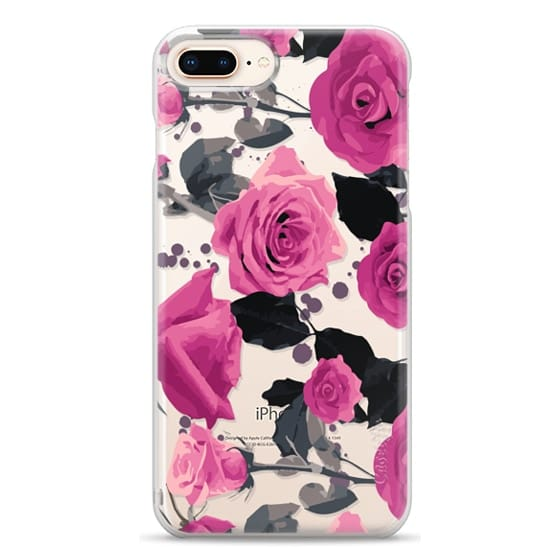 iPhone 8 Plus Cases - Roses and paint splatter pinks