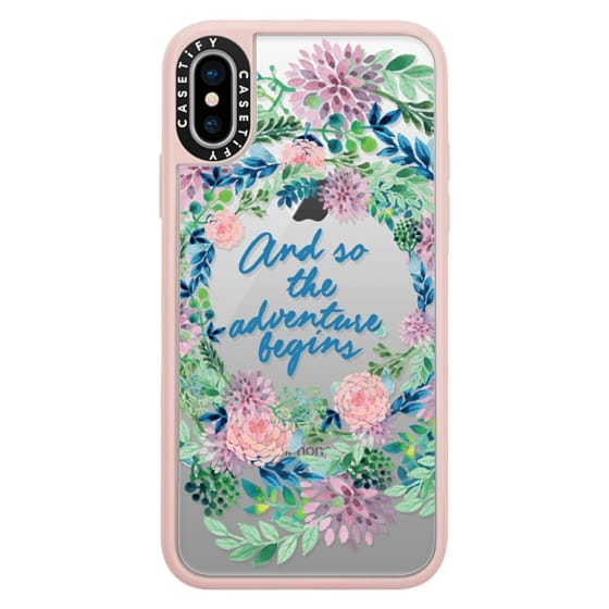 iPhone X Cases - And so the adventure begins- quote watercolor flowers