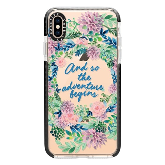 iPhone XS Max Cases - And so the adventure begins- quote watercolor flowers