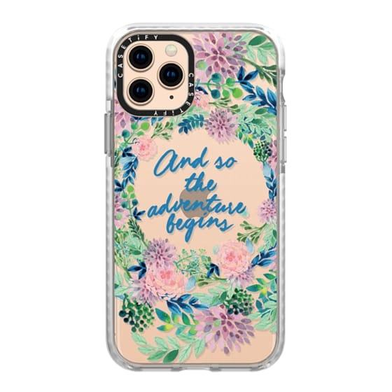 iPhone 11 Pro Cases - And so the adventure begins- quote watercolor flowers