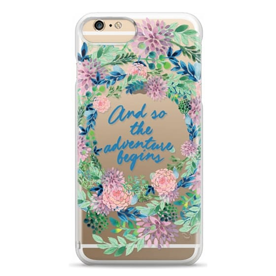 iPhone 6 Plus Cases - And so the adventure begins- quote watercolor flowers