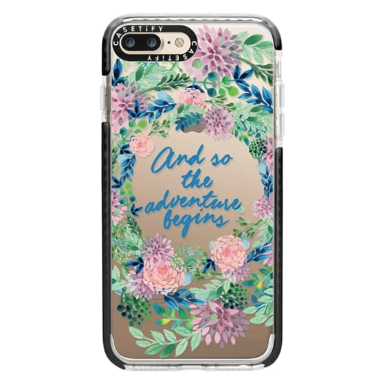 iPhone 7 Plus Cases - And so the adventure begins- quote watercolor flowers