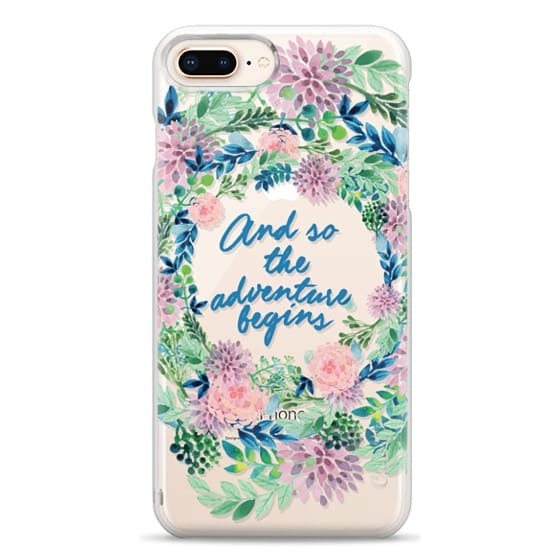 iPhone 8 Plus Cases - And so the adventure begins- quote watercolor flowers