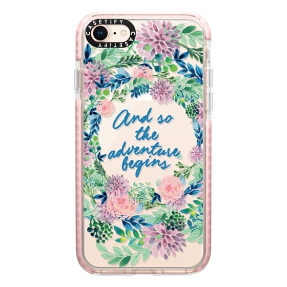 iPhone 8 Cases - And so the adventure begins- quote watercolor flowers