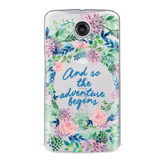 Nexus 6 Cases - And so the adventure begins- quote watercolor flowers