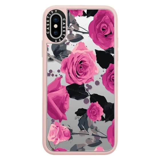 iPhone X Cases - Roses and paint splatter pinks