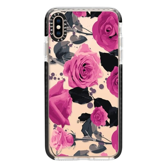 iPhone XS Max Cases - Roses and paint splatter pinks