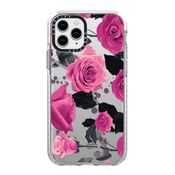 iPhone 11 Pro Cases - Roses and paint splatter pinks