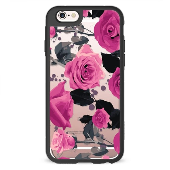 iPhone 4 Cases - Roses and paint splatter pinks
