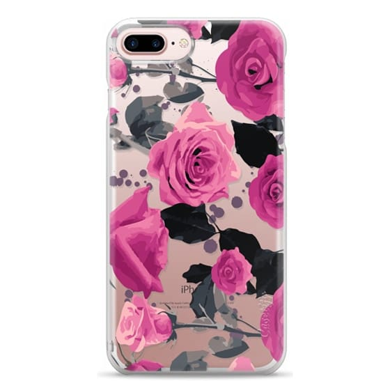iPhone 7 Plus Cases - Roses and paint splatter pinks