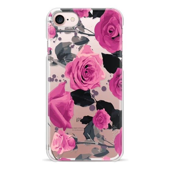 iPhone 7 Cases - Roses and paint splatter pinks