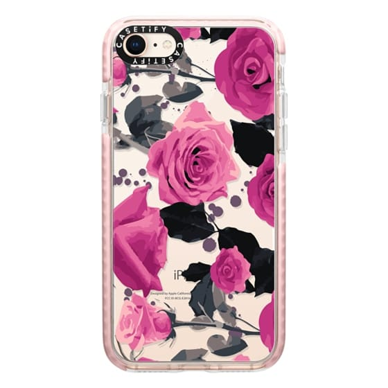iPhone 8 Cases - Roses and paint splatter pinks