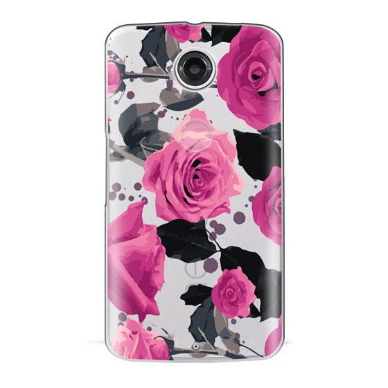 Nexus 6 Cases - Roses and paint splatter pinks