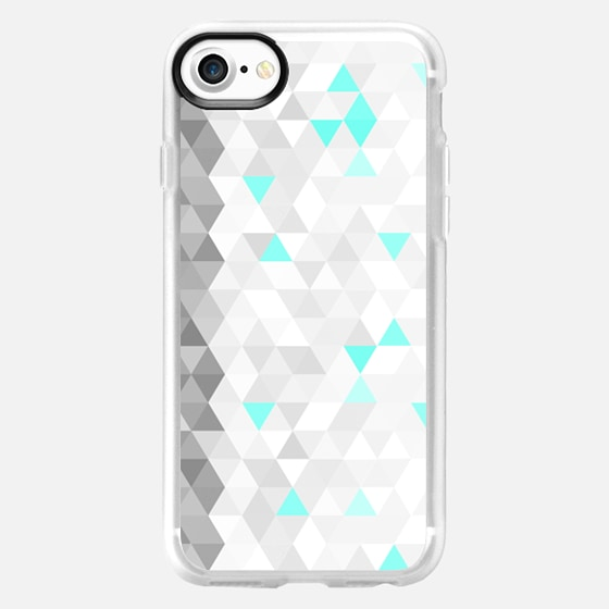 WHITE BLUE GEOMETRIC TRIANGLES - Wallet Case