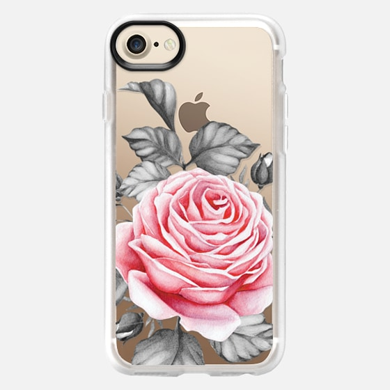 ROSE ON BLACK AND WHITE FOLIAGE - Classic Grip Case