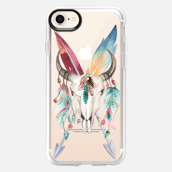 WATERCOLOR BOHO BULL SKULL FEATHERS AND ARROWS - Snap Case