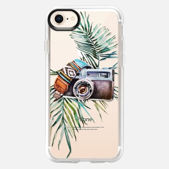 WATERCOLOR BOHO VINTAGE CAMERA - PALM LEAVES - Snap Case