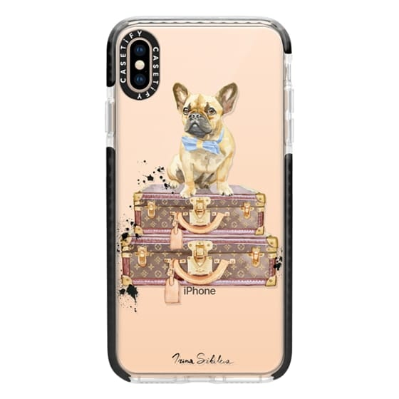iPhone XS Max Cases - French Bulldog on suitcases