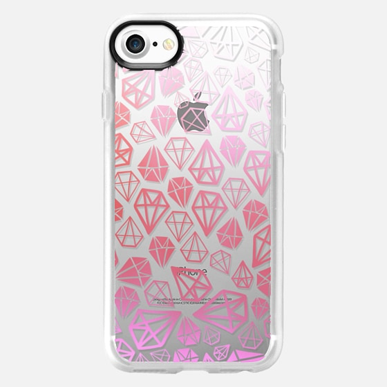 Pink Diamonds | Geometric girly boho bohemian chic white sketch - Wallet Case