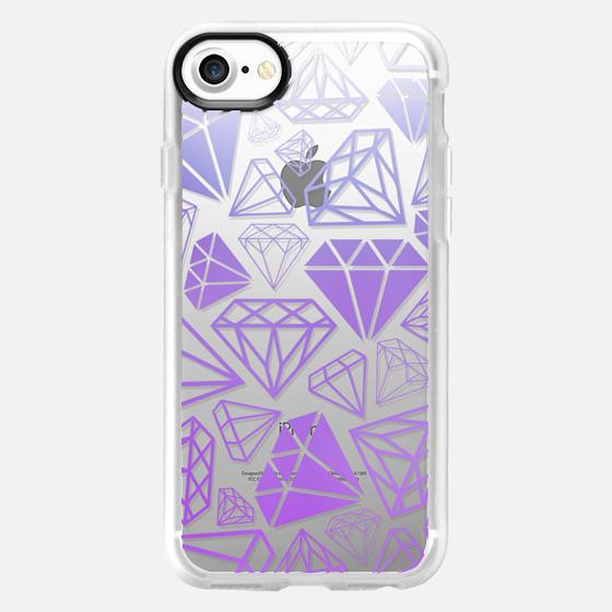 Purple Ombre Diamonds Full Shine Bright Girly Girl Fun Bling Glamorous  - Wallet Case