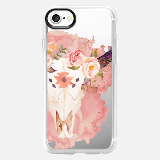 Pink Skull Watercolor -