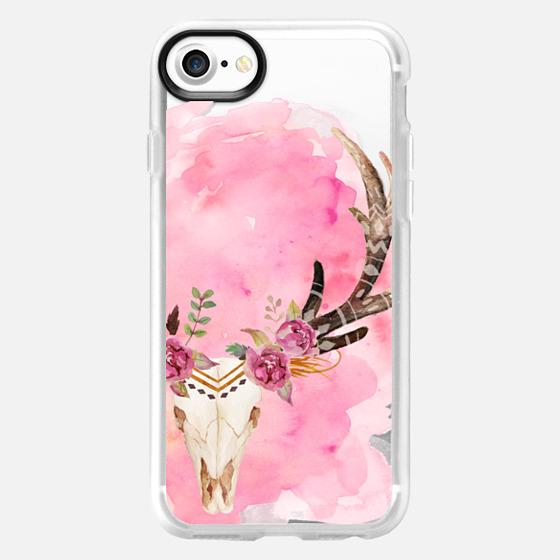 Floral Skull Watercolor Pink Boho Bohemian -