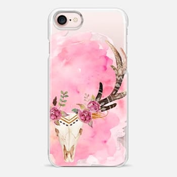 iPhone 7 Case Floral Skull Watercolor Pink Boho Bohemian