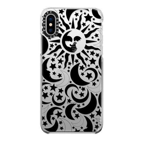 iPhone X Cases - Stars Sun Moon Black Pattern Boho Bohemian Hippy New Age
