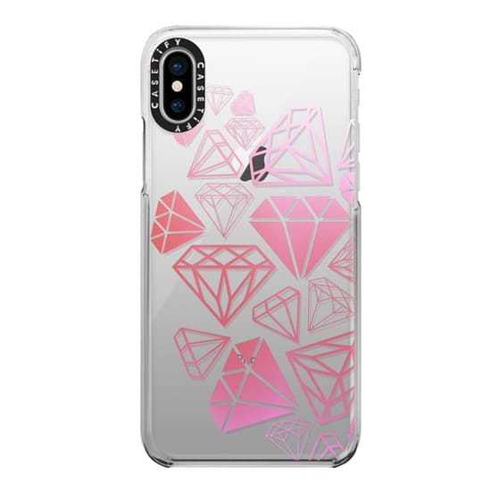 iPhone X Cases - Pink Ombre Diamonds Shine Bright Girly Girl Fun Bling Glamorous