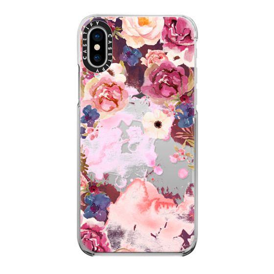 iPhone X Cases - pink maroon flower watercolor boho hippy bohemian coachella artist floral