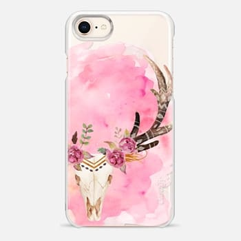 iPhone 8 Case Floral Skull Watercolor Pink Boho Bohemian
