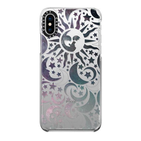 iPhone X Cases - Galaxy Stars Sun Moon Black Pattern Boho Bohemian Hippy New Age