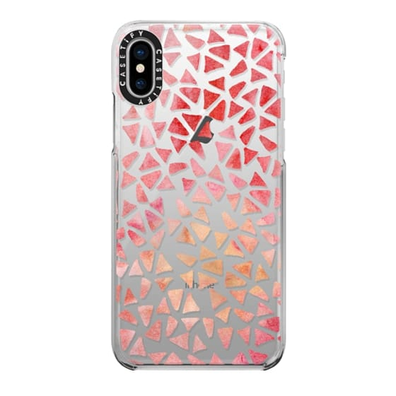 iPhone X Cases - Pink Coral Watercolor Triangles