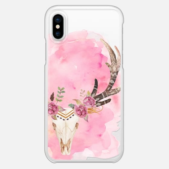 Floral Skull Watercolor Pink Boho Bohemian