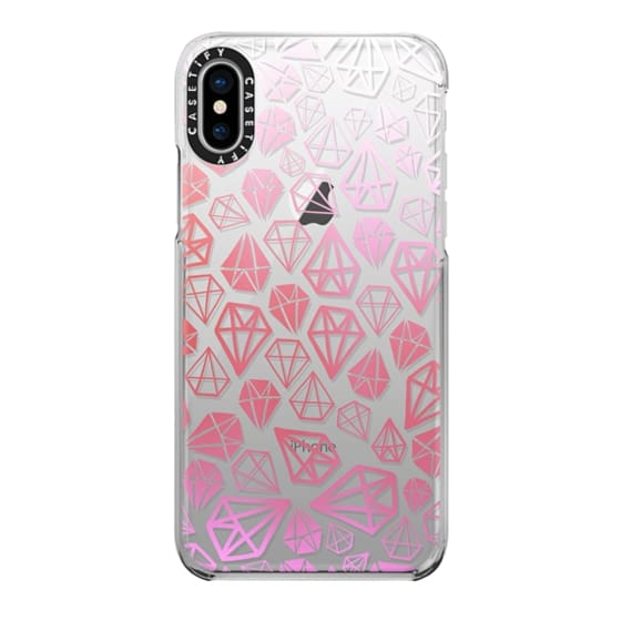 iPhone X Cases - Pink Diamonds | Geometric girly boho bohemian chic white sketch