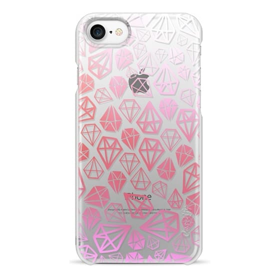 iPhone 7 Cases - Pink Diamonds | Geometric girly boho bohemian chic white sketch