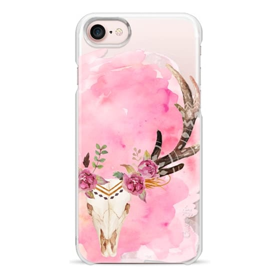 iPhone 7 Cases - Floral Skull Watercolor Pink Boho Bohemian