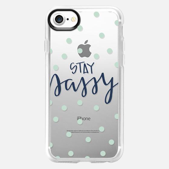 stay sassy - mint dots - Snap Case