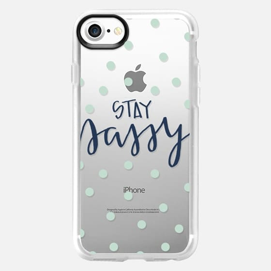 stay sassy - mint dots - Snap Case