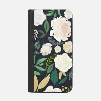 iPhone Wallet Case -  Black and Gold Floral