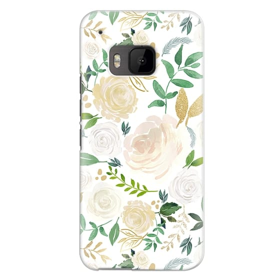 Htc One M9 Cases - White and Gold Floral