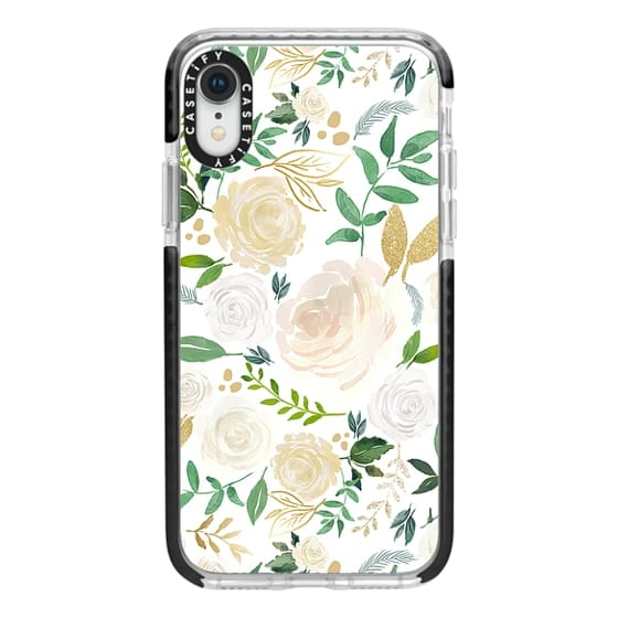 iPhone XR Cases - White and Gold Floral